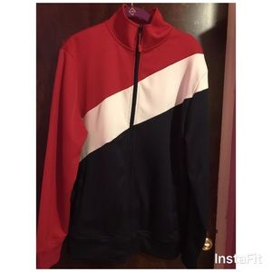 Other - Mens performance jacket Sz M 2 way zip red blue